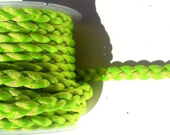 2 meters in neon green braided silk cord
