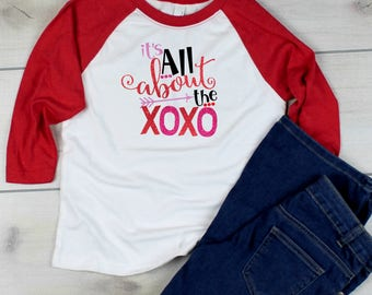 Valentine's Day All About the XOXO Kisses Hugs Cute Child's Kid Baseball Tee Shirt Glitter Bling
