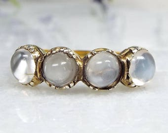 Antique Georgian 15ct Gold Spectacular Chased 4 Moonstone Half Eternity Band Ring / Size R