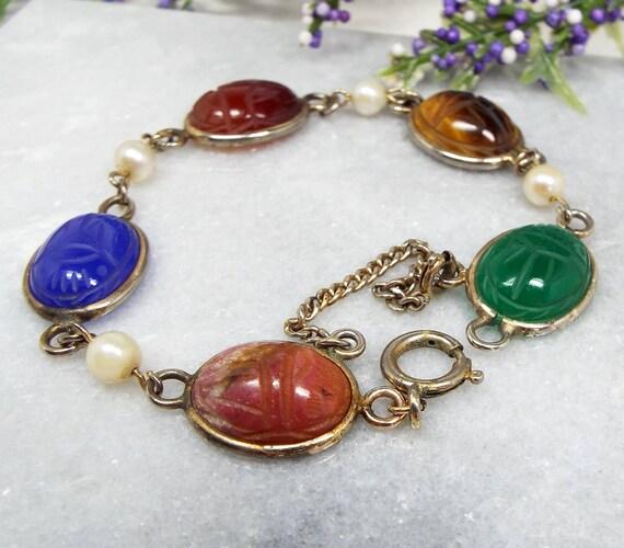 Vintage / Gold Gemstone Egyptian Revival Scarab Beetle Cabochon Link Bracelet