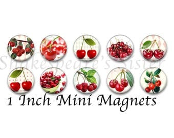 Cherry Magnets - Colorful Red Cherries - Refrigerator Magnets - 1 Inch Mini Magnets - Set of 10 - Kitchen Decor