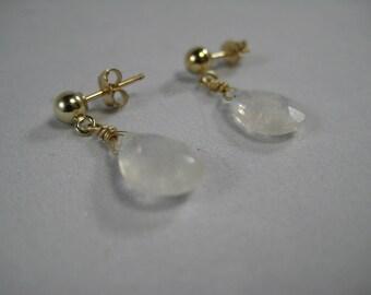 Rainbow Moonstone Faceted Gemstone Briolette Drop Dangle Earrings 14Kt Gold Filled Post Studs