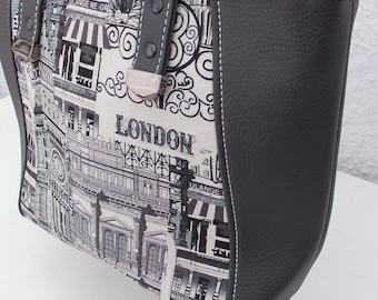 London Tote Bag, London Landmarks, Handmade Bag, Gift for Her,