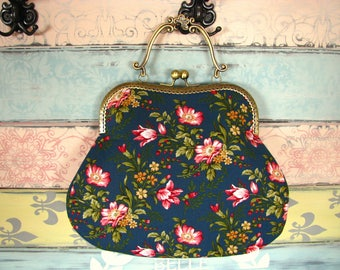 Vintage evening clutch purse with flowers, kiss lock purse, metal frame purse, purse with handle,