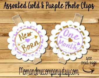 First birthday photo banner Photo holder First year photo clips Month photo banner monthly banner first year banner Purple Gold glitter