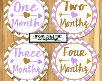Gold and Purple Glitter Baby Girl Monthly stickers Baby month stickers baby Shower gift Month baby sticker Months 1-12 stickers Month decals