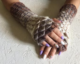 Fingerless Gloves, dragon scale gloves women fingerless Crocheted Arm Warmers , Yellow Accessory, Autumn Fingerless, crocodile stick