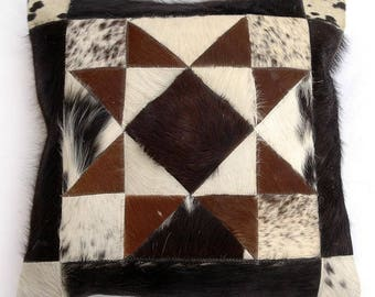 Natural Cowhide Luxurious Patchwork Hairon Cushion/pillow Cover (15''x 15'')a135