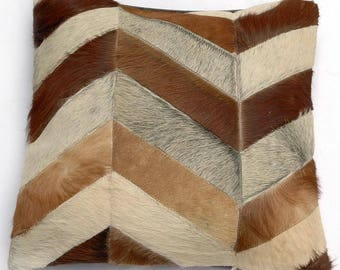 Natural Cowhide Luxurious Patchwork Hairon Cushion/pillow Cover (15''x 15'')a230