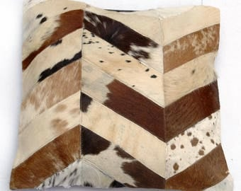 Natural Cowhide Luxurious Patchwork Hairon Cushion/pillow Cover (15''x 15'')a270
