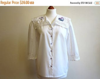 ON SALE Ivory Off White Lace Collar Blouse Short Sleeves Blouse  Embroidered Blouse Large Size