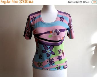 ON SALE Multicolor Top Floral Print Jersey Blouse Womens Shirt Short Sleeves Top Small to Medium Size Blue Pink Green Purple