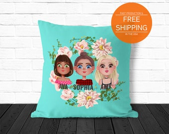 Best friends pillow, custom throw pillow, personalized bff gifts by nkdna