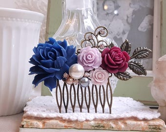 Navy blue bridal country garden hair accessory Antique inspired wedding comb Burgundy lilac roses