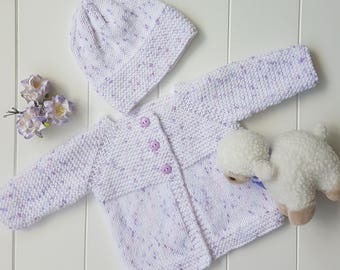 Baby Girl Outfit - Babies Knitwear - 0-3 months Baby Clothes - Baby Cardigan - Reborn Doll Outfit - Baby Knitted Hat - New Baby Gift -