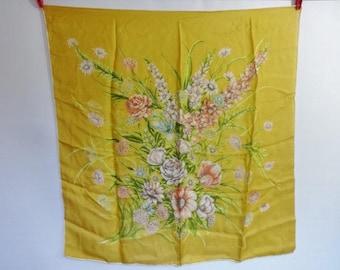 Vintage Silk hand rolled Scarf Floral Flowers 76cm x 78cm