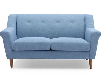 New Retro Vintage Teal Light blue Fabric Sofa 2 Seater Small Space Living UK Stock