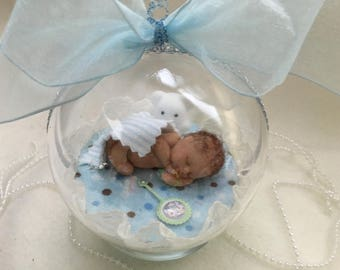 "Baby Boy with his teddy...Polymer Clay 4"" Keepsake Ornament with base"