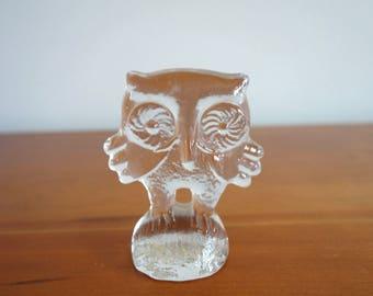 Vintage Glass Owl, Kosta Boda Owl, Kosta Boda, Mid Century, Swedish Art Glass, Erik Hogund, Figurine, Paperweight, Bertil Vallien