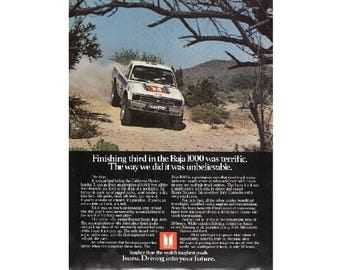 Vintage poster advertisement for a 1983 Isuzu truck
