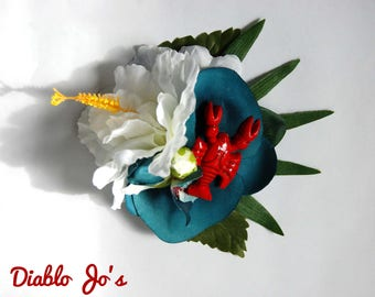 Lobster and Hibiscus Hair flower, Nautical sea life. Rockabilly, Tropical, Pin Up hair