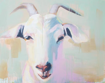 whimsical abstract goat acrylic painting farmhouse art mint green, white, blue, pink peach
