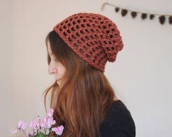 Bonnet Slouchy - Rouille - crocheté en laine