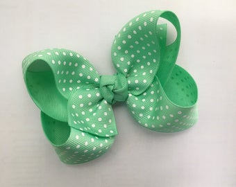 Large 4 inch Mint Swiss Dot Hair Bow