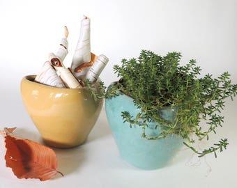 Two Zanesville Pottery Pinch Pot Planters/Vase/ Bowls Mid Century