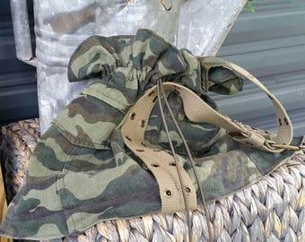 Camo Tote Sack Wristlet Bag Upcycled Gypsy Boho Hippie Chic Purse