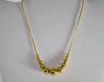 Vintage Monet 50's-60's Polished Gold Graduating Bead Necklace