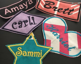 Name Patch - Iron on Patch - Sew on Embroidery Patch - Custom Patches