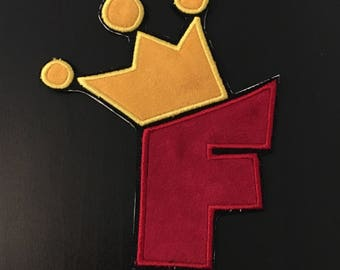 Crown Letter Patch - Iron on Patch - Sew on Embroidery Patch - Custom Patches