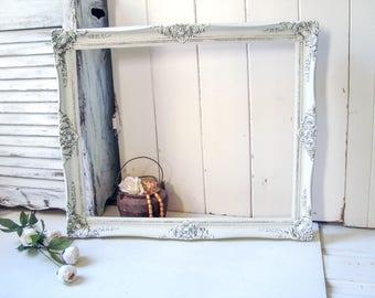 Rustic White Picture Frame, Shabby Chic Cream Large Open Frame, Wedding Frame, Farmhouse Antique White Frame, Nursery Frame, Ornate Frame
