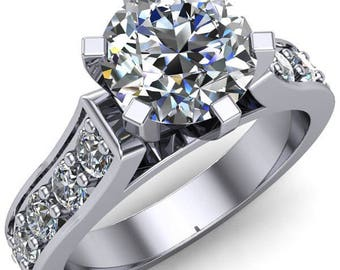 Ava Round Forever One Hearts & Arrows Moissanite 6 Prong Cathedral Ring