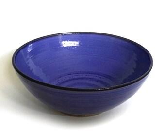 "large ceramic bowl, serving bowl, 10"", blue ceramic bowl, cobalt blue, handmade, high fired"