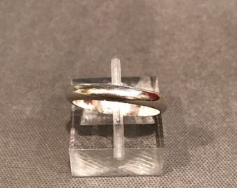 Size 6, Vintage sterling silver handmade ring, 925 silver band, stamped 925, wedding band