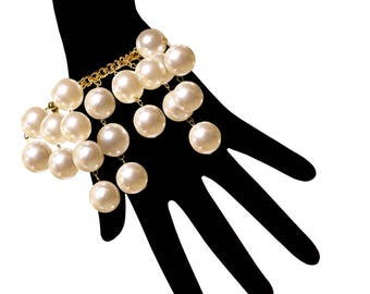 18mm Faux Pearl Bracelet with Gold Plated Vintage Chain