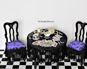 Dollhouse Miniature Gothic Spooky Gypsy Fortune Teller Clairvoyant Table with Tarot Cards n 1:12 scale