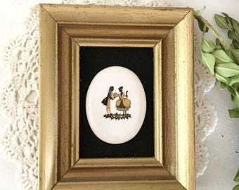 Vintage Black Yellow Framed Cameo|Victorian Small Gold Framed Wall Hanging|Victorian Bedroom|Small Framed Cameo