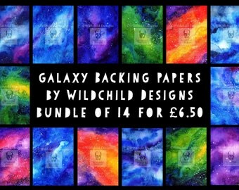 14 x Galaxy Nebula Space Watercolour Hand Painted Backing Papers by Wildchild Designs for use with Paper Cutting Templates Digital Downloads