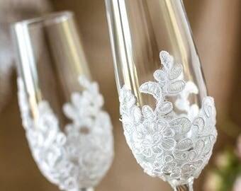 8% OFF Wedding Champagne Flutes Vintage Wedding Glasses, Lace Toasting Glasses, Rustic Wedding Personalized Toasting Glasses, Wedding Gift