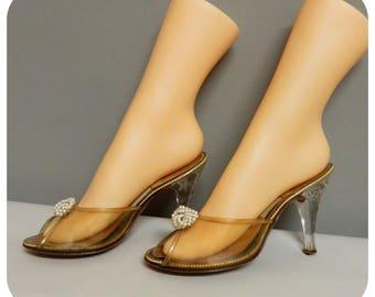 Vintage 1950s Springolator  Shoes Acrylic Carved Heels Peep Toe High Heel  37