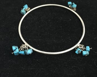 Vintage Silver Colored and Turquoise Stone Bangle Bracelet