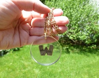 "1960s Vintage ""W"" Lucite Initial Letter Necklace, Amazing Groovy Old Letter Necklace, Bold Size, 24'' Chain, Gold Filled"