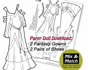 Medieval Princess Gowns Mix Match Digital Paper Doll