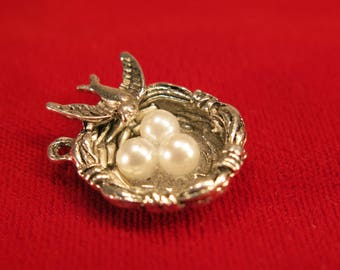 """BULK! 10pc """"bird's nest"""" charms in antique silver style (BC589B)"""
