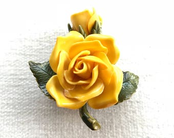 Yellow rose and flower brooch