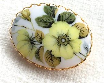 Yellow flower porcelain brooch