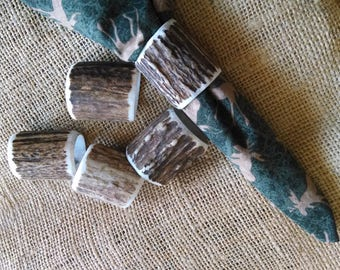"Antler Napkin Rings, 5 genuine hollowed Elk antler, natural dark brown and cream, medium size approx. 1-1/4"" across, fits thin cloth napkins"